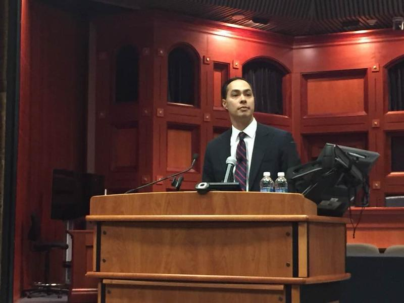 Julian Castro speaking at St. Mary's University on February 3, 2017.