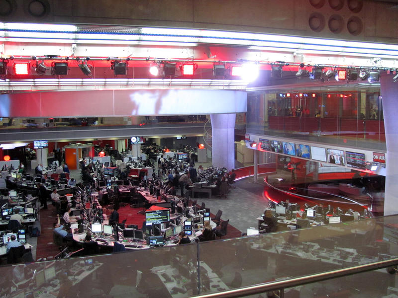 The newsroom in Broadcasting House