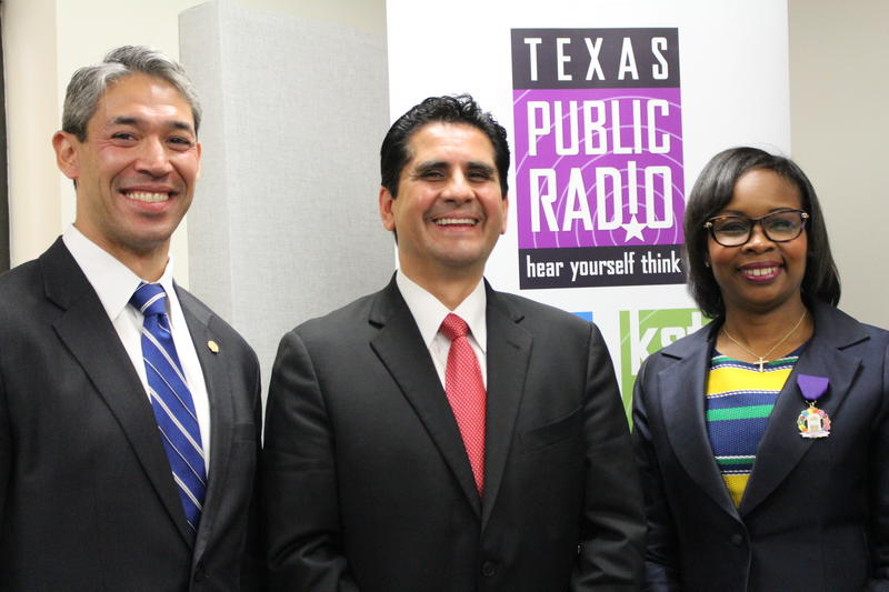(R-L) Councilman Ron Nirenberg, Bexar County Democratic Party Chairman Manuel Medina, Mayor Ivy Taylor in Texas Public Radio studios.