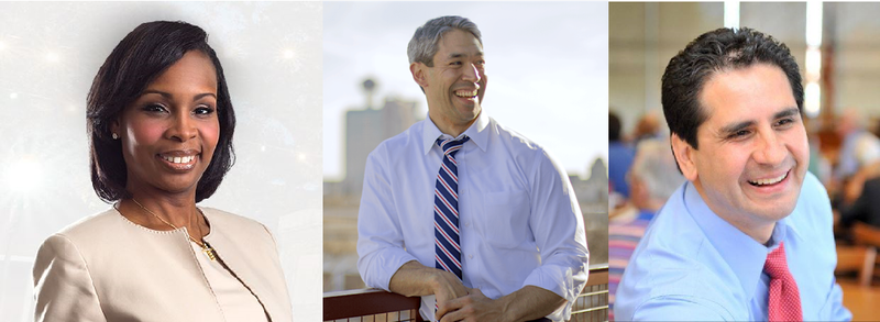Incumbent Ivy Taylor, Councilman Ron Nirenberg, Bexar County Democratic Party Chairman Manuel Medina.