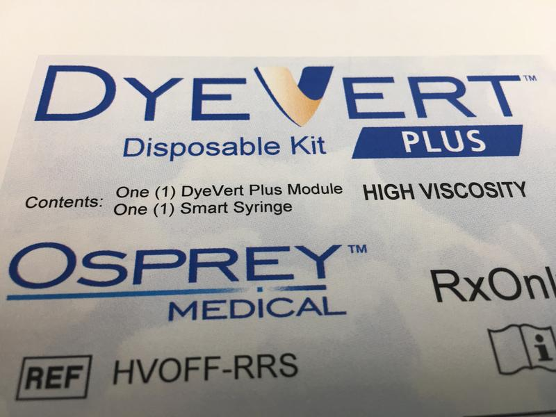 The Dye-Vert Plus uses bluetooth technology embedded in the syringe to track precisely how much dye is being used during heart procedures.