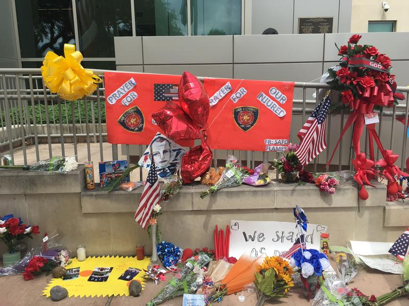 Part of a memorial for Scott Deem at Public Safety Headquarters