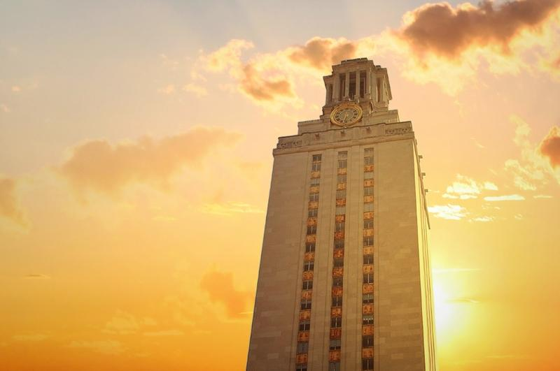 A look at the sun setting over the University of Texas at Austin Tower in 2011.
