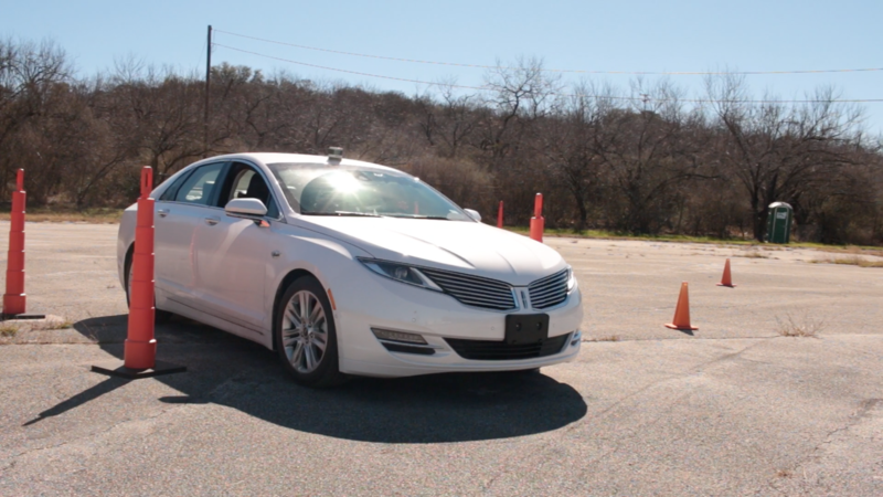 A Lincoln MKZ equipped with patented Ranger technology navigates cones at Southwest Research