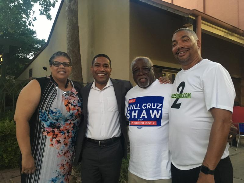 "William ""Cruz"" Shaw with his supporters on Election Night"