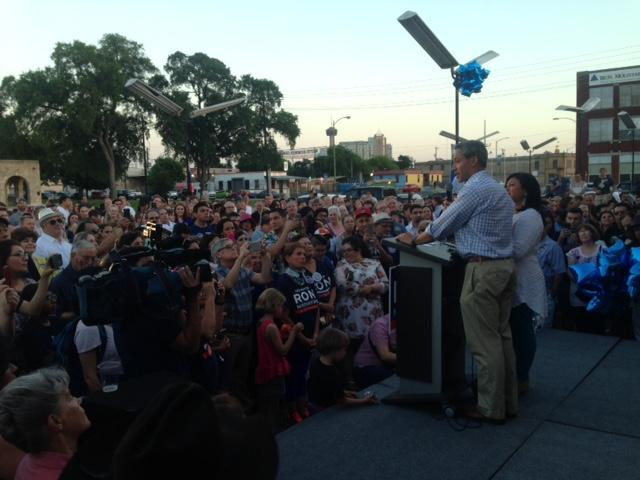 Ron Nirenberg addresses a crowd of supporters on Election night, June 10, 2017.