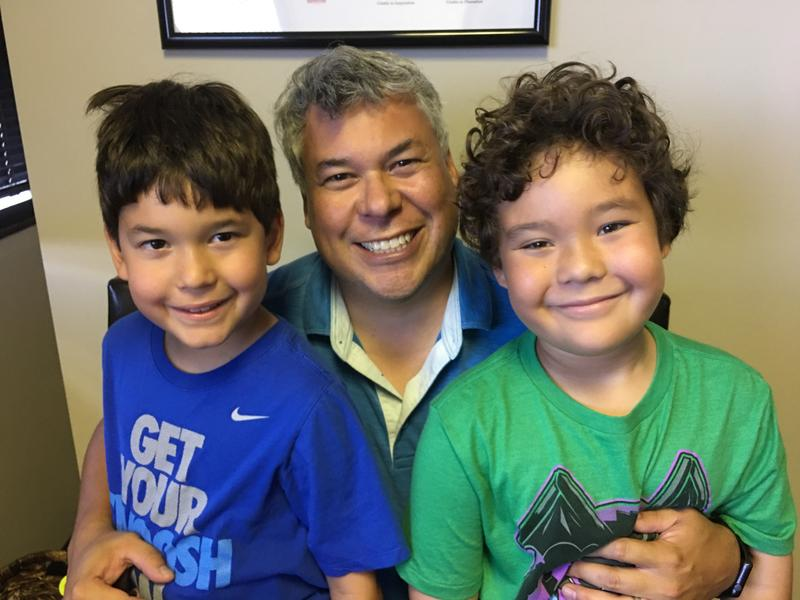 (left to right) Alex Cervantes, father Daniel Cervantes, and Nathan Cervantes travel to Austin to see Dr. Stacy Silvers of Texan Allergy for oral immunotherapy for Nathan.
