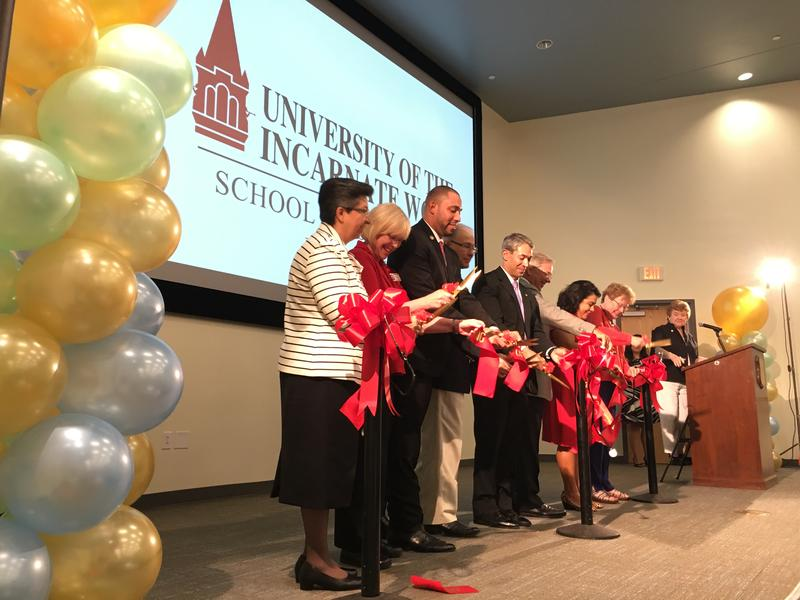 The ribbon is cut for the grand opening of the University of the Incarnate Word's new School of Osteopathic Medicine on July 20, 2017.