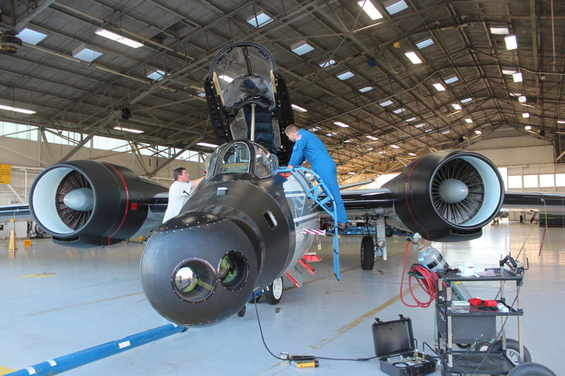 Flight crew prepares WB-57 for eclipse test run from Ellington Field
