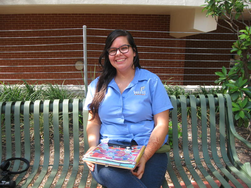 Elisabeth-Ann Ruiz on the campus of San Antonio College.