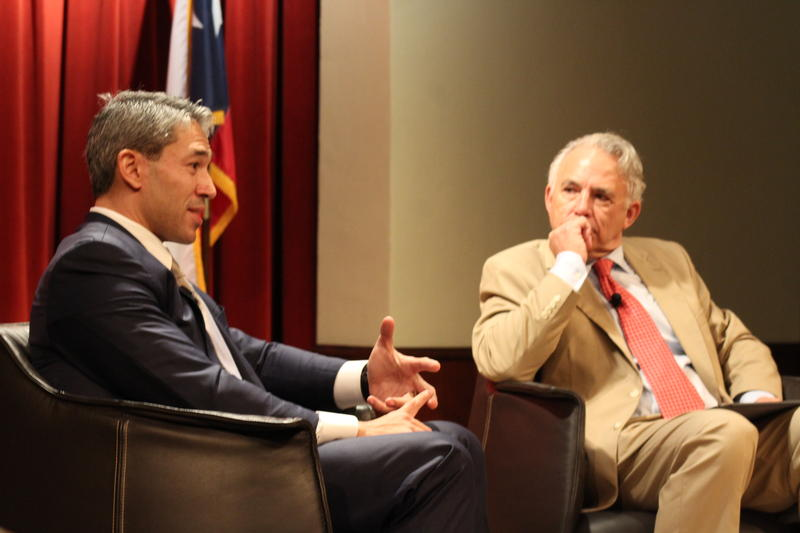 San Antonio Mayor Ron Nirenberg talks with Robert Rivard at a joint luncheon with the Hispanic Chamber