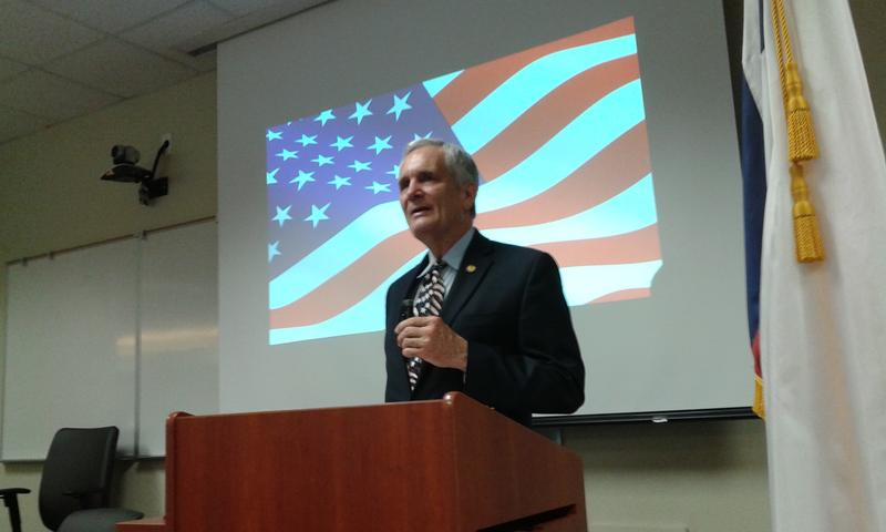 Congressman Lloyd Doggett addresses the Veterans Summit at San Antonio College