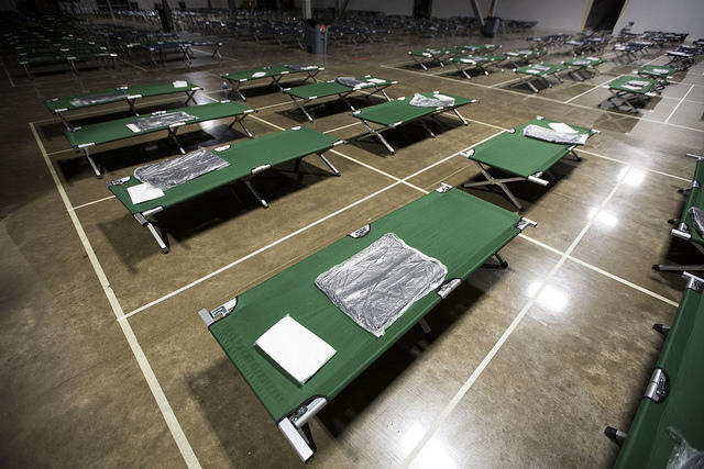 "A centralized ""mega shelter"" for Hurricane Harvey evacuees operated by the Austin/Travis County Emergency Operations Center."