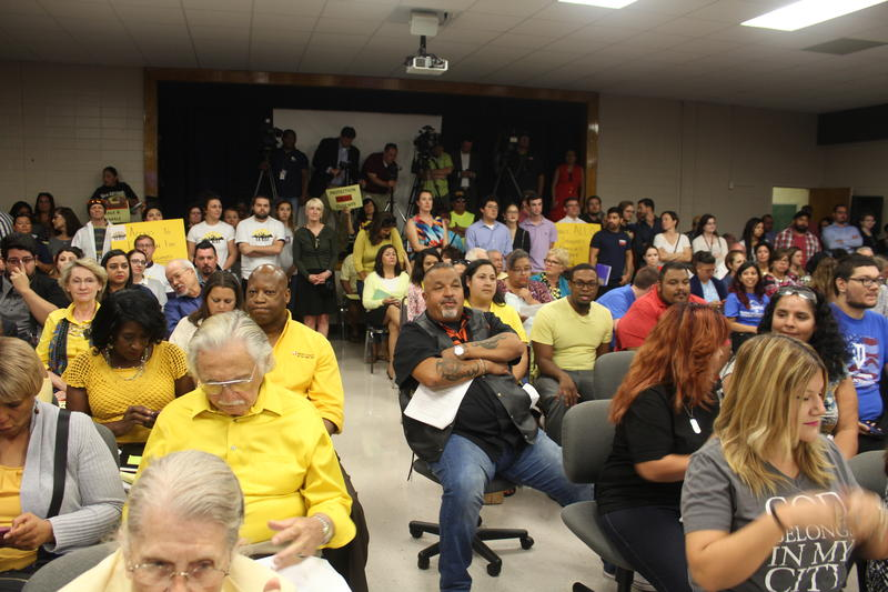 Supporters and opponents of SAISD's non-discrimination policy attend Monday night's board meeting