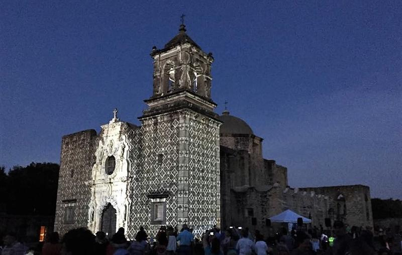 """The showcase """"Restored By Light"""" is an initative by San Antonio's Office of Historic Preservations, featuring the San Antonio Missions."""