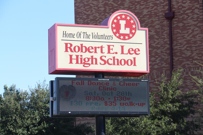 The marquee outside of Lee High School on Jackson-Keller Rd.