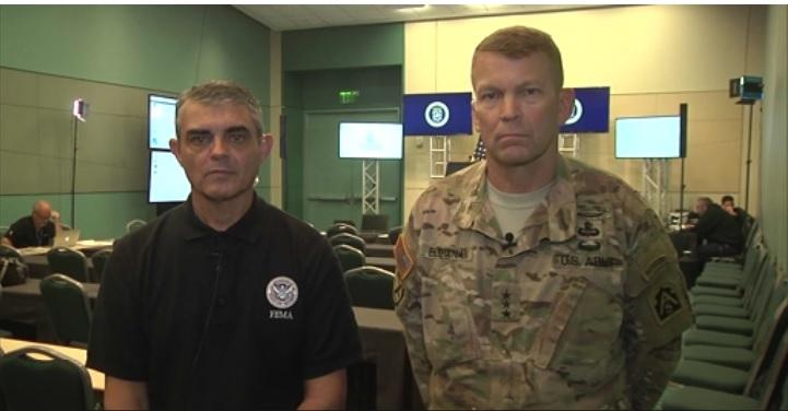 Commander of Joint Force Land Component Command Lt. Gen. Jeffrey Buchanan and Federal Coordinating Officer Alejandro De La Campa provide the media with current updates on the status of Puerto Rico relief efforts after Hurricane Maria.