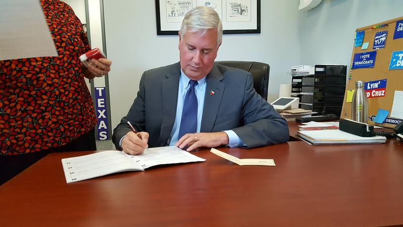 Mike Collier, filing as a Democrat in 2018 Lt. governor's race.