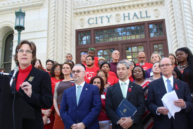 Metro Health Director Dr. Colleen Bridger speaks outside City Hall at the annoucement San Antonio would be joining Fast Track Cities
