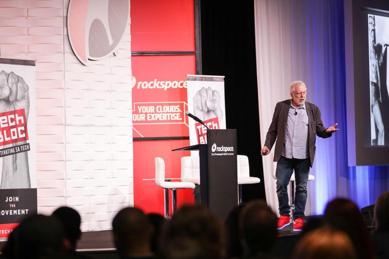 Nolan Bushnell speaks to Tech Bloc at Rackspace on Nov. 9, 2017.