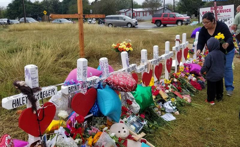 Crosses memorialize victims of the Sutherland Springs church shooting in November 2017.