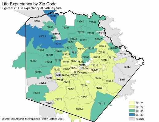 A map assessing life expectancy by zip code in Bexar County, according the Bexar County Health Collaborative.