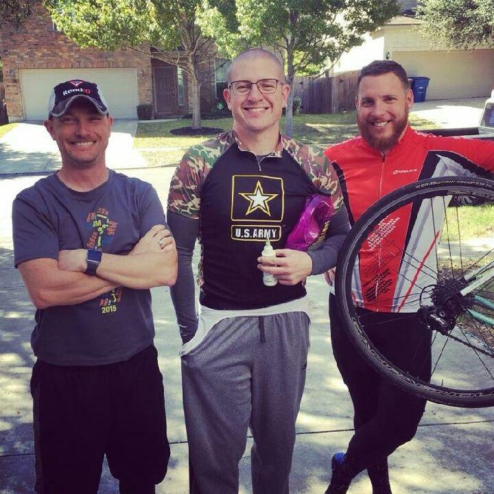 Steve Carter, United States Air Force Cycling Team, from left; Andrew Sims; and Ryan Loyd.
