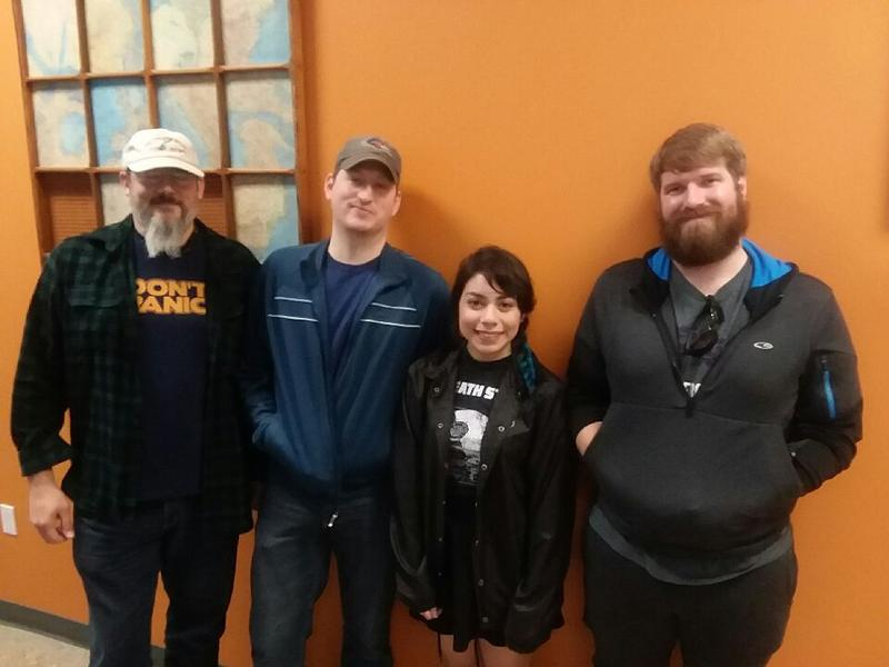 Ryan Fondulius, from left; Clint Chenault; Brian Biever; and Jocelyn Rocha are students in professor John Quarles' video game development course.