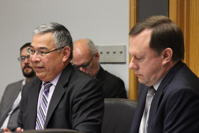 City Attorney Andy Segovia (left) and City Auditor Kevin Barthold brief the City Council Governance Committee on prospective changes to the contracting process