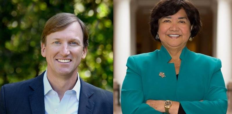 Andrew White, left, and Lupe Valdez
