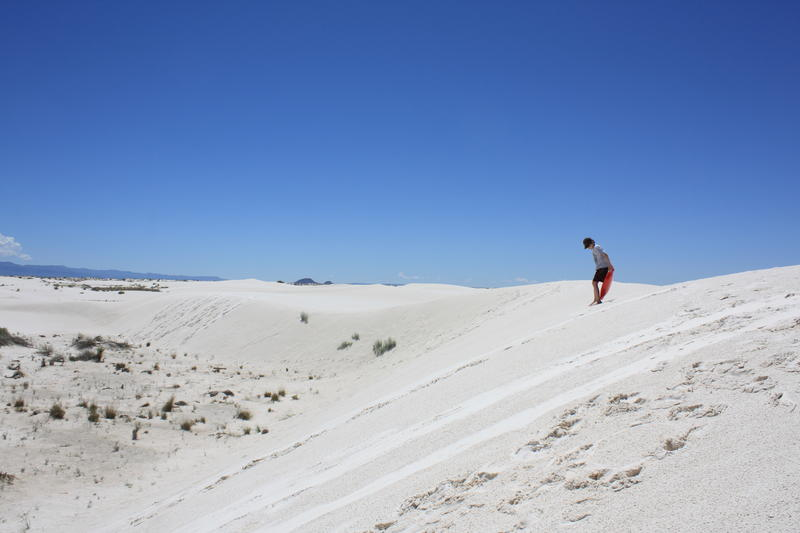 Sledding at White Sands, New Mexico