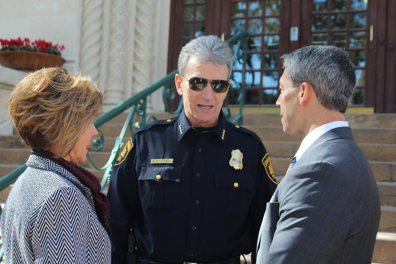 City Manager Sheryl Sculley, from left, San Antonio Police Chief Willam McManus and Mayor Ron Nirenberg spoke during a Human Trafficking Awareness Day new conference at City Hall on Thursday.