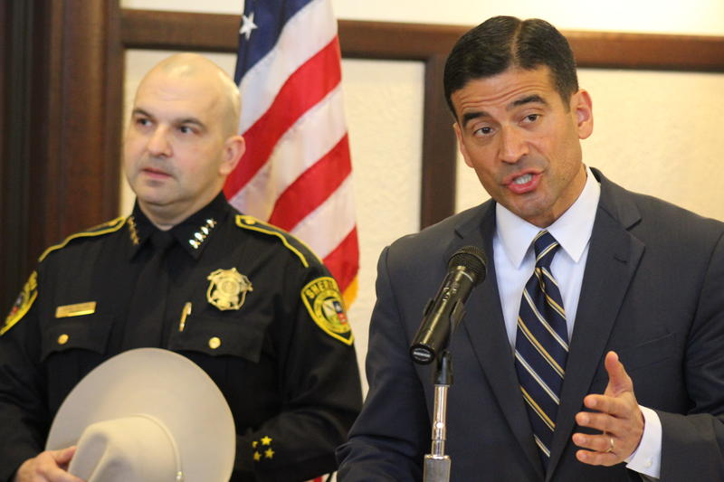 Bexar County District Attorney Nico LaHood (right) and Sheriff Javier Salazar provide details of the cite and release program on Wednesday