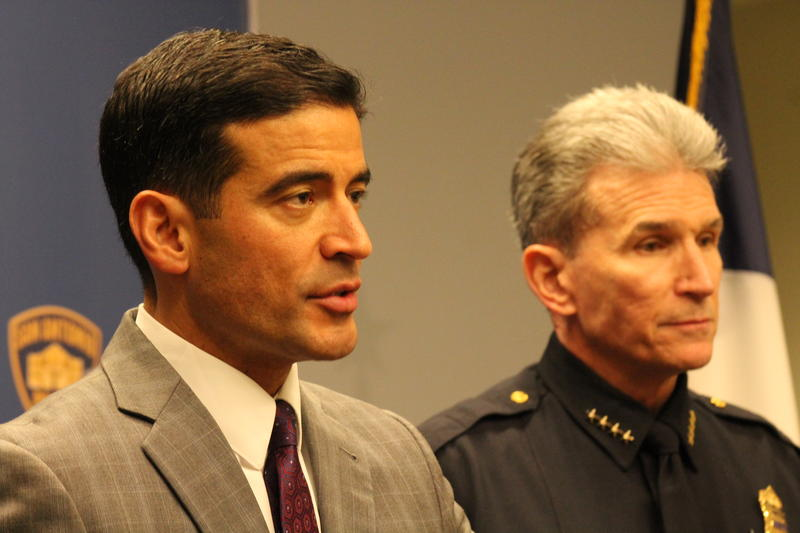 Bexar County District Attorney Nico LaHood, left, stands with San Antonio Police Chief William McManus during  Thursday's press conference.