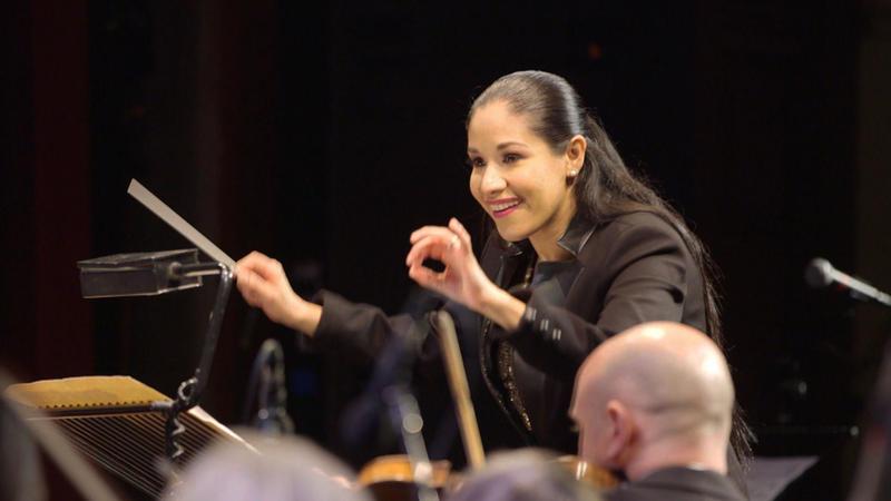 Paula Nava Madrigal rehearsing with the Ballard Civic Orchestra for 2016 Encanto