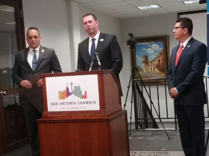 From left to right: City Councilman Greg Brockhouse, U.S. Chamber of Commerce Foundation president Eric Eversole, and San Antonio Chamber of Commerce President and CEO Richard Perez.