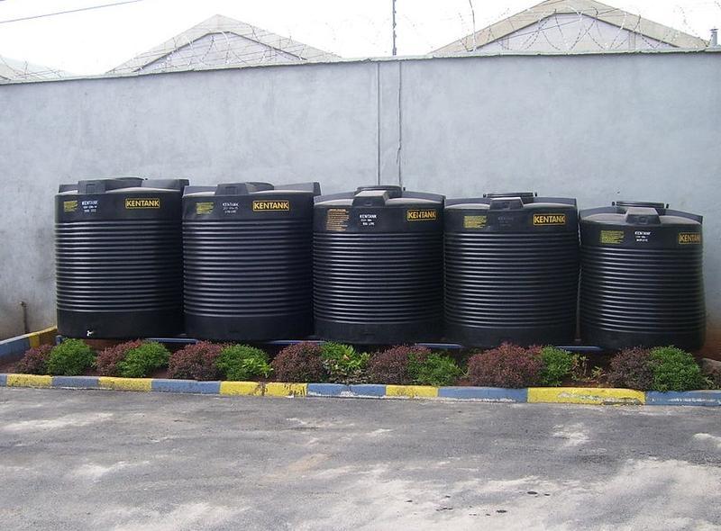 Rainwater harvesting tanks.