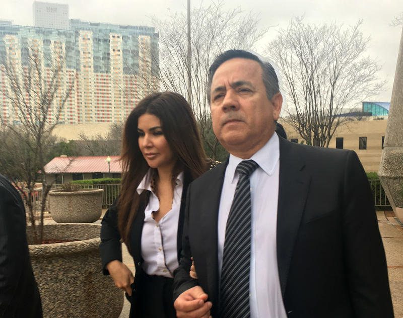 Texas State Sen. Carlos Uresti and his wife Lleanna Uresti arrive at the John H. Wood Jr. Federal Courthouse for closing arguments in his criminal fraud trial Tuesday.
