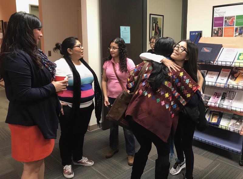 Courtney Balderas-Jacob, unidentified, Ana Michelle Treviño, Andrea Magaña hugging Lilliana Saldaña