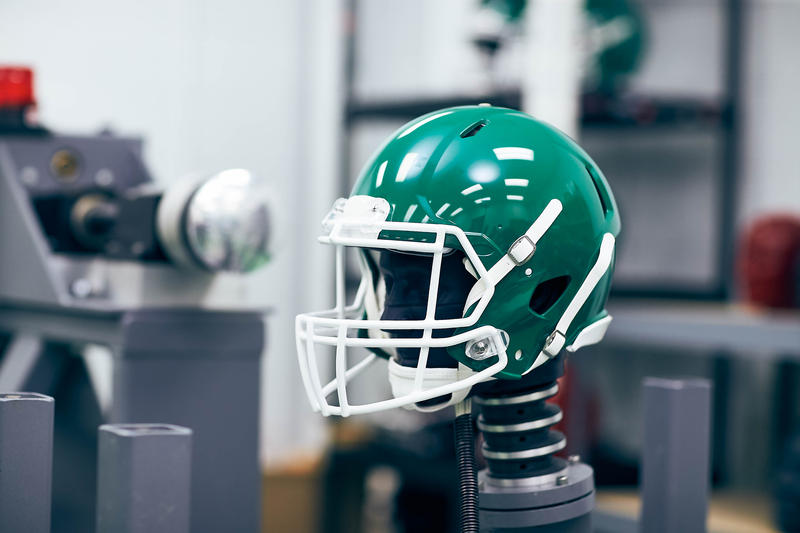 NOCSAE's pneumatic ram impactor, used to test forces on football helmets.