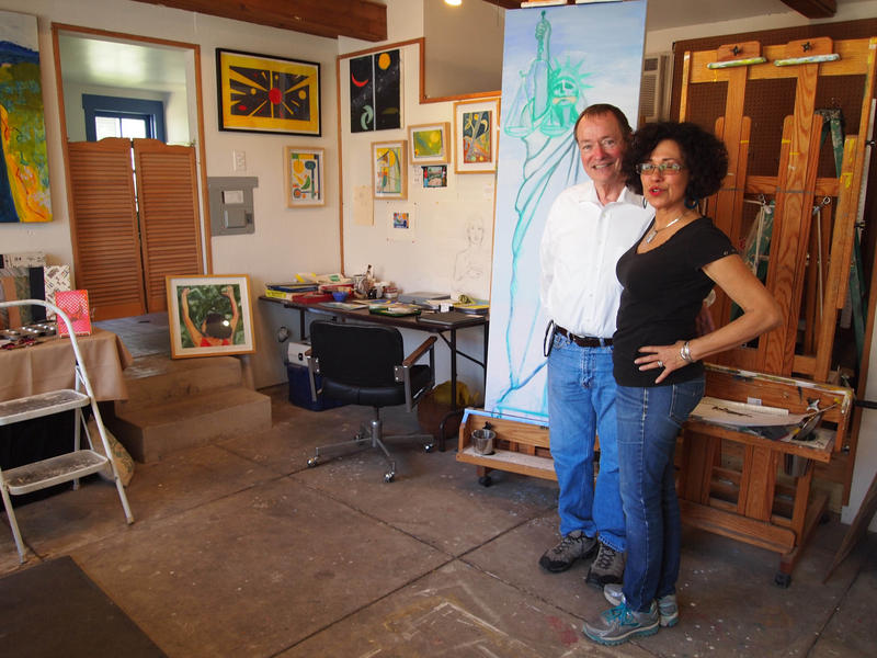 RitaMaria Contreras and husband  Steve Avery in her painting studio