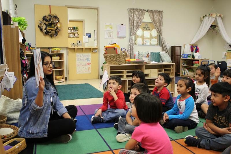 Pre-K 4 SA teacher Jaclyn Castillo reads to her class on March 2.