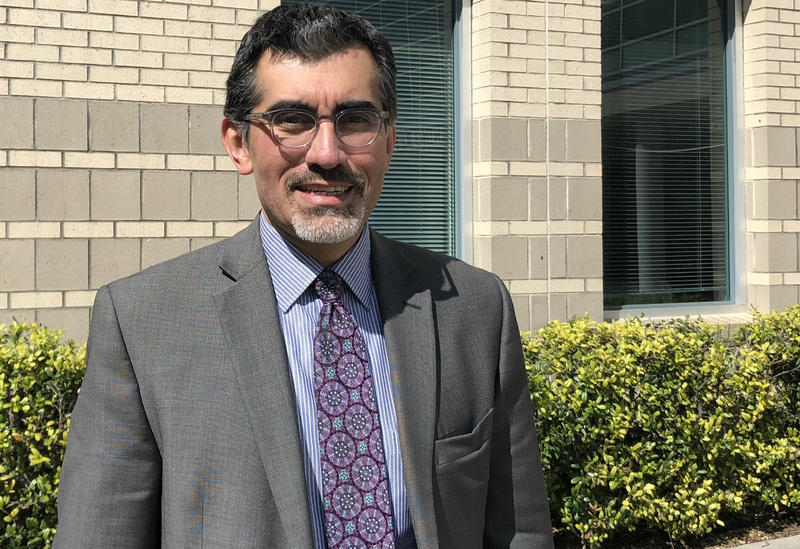 Mike Flores on the St.  Philip's College campus in March 2018. He is the incoming chancellor for the Alamo Colleges District.