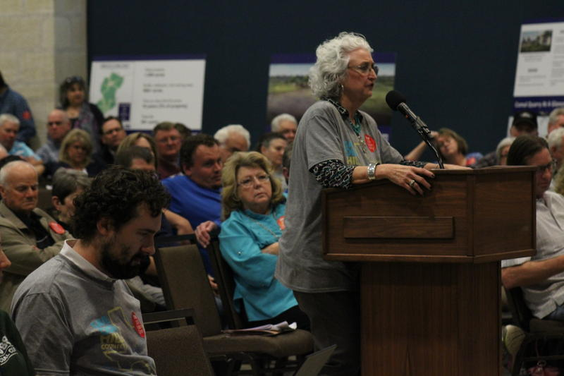 Sabrina Houser-Amaya speaks at public meeting regarding the permits for Vulcan's limestone quarry.