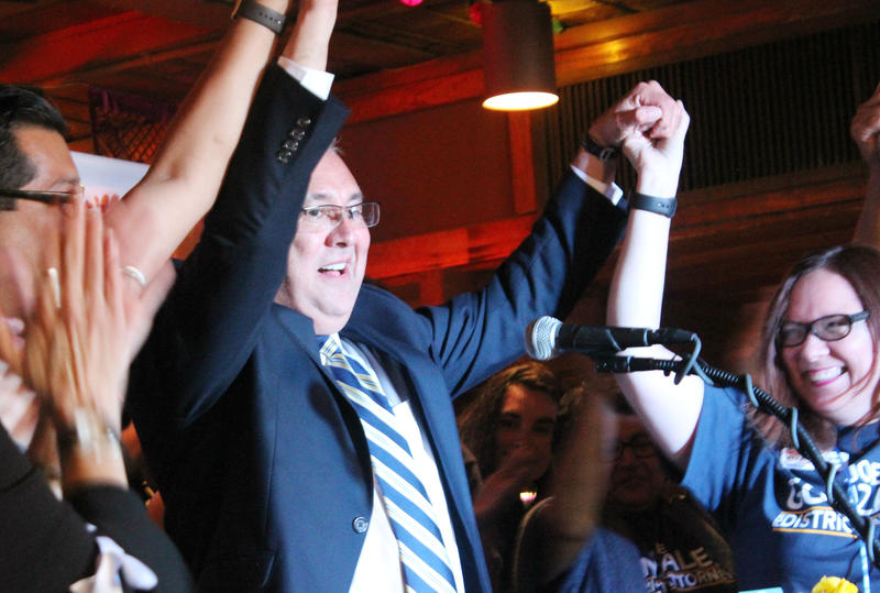 Joe Gonzales celebrates after defeating incumbent Nico LaHood in Tuesday's Democratic primary.