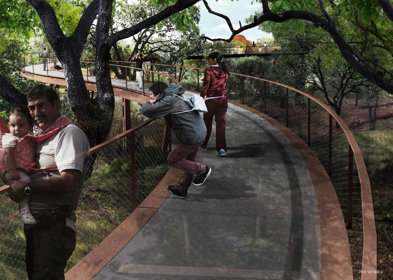 One feature of the land bridge would be a skywalk, an elevated walkway that would allow park-goers to climb through tree tops to the top of the bridge.