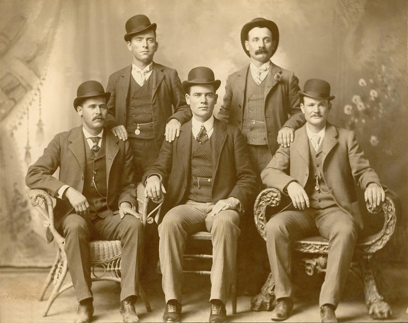 "Front row, from left: Harry A. Longabaugh, alias ""The Sundance Kid""; Ben Kilpatrick, the ""Tall Texan""; and Robert Leroy Parker, ""Butch Cassidy."" Standing: Will Carver and Harvey Logan, aka ""Kid Curry,"" in Fort Worth, 1900."