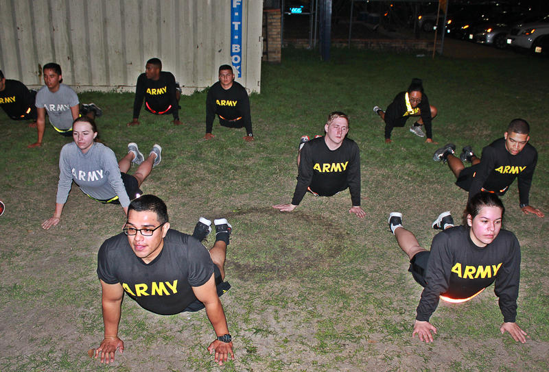 Cadets at St. Mary's University Army ROTC participate in a morning workout.