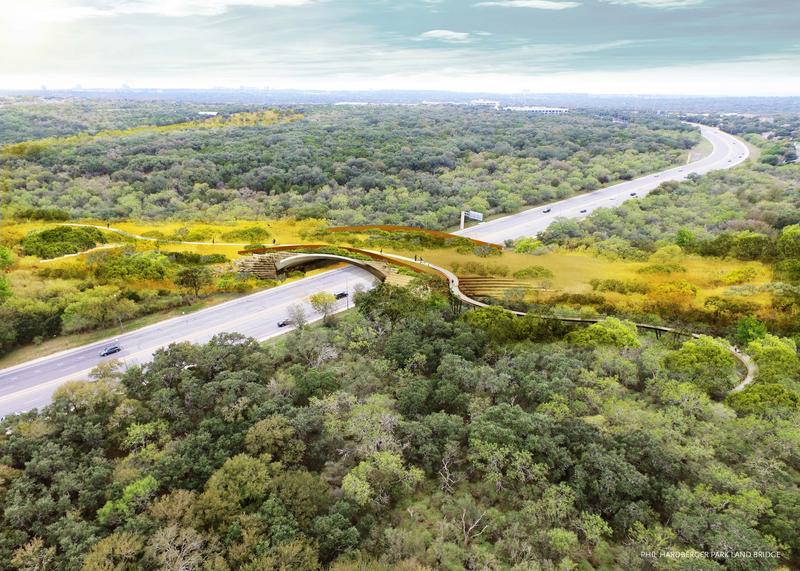 The conceptual renderings of the land bridge over Wurzbach Parkway