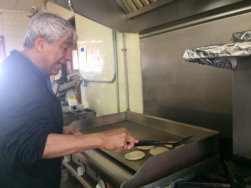 Jorge Taborda making arepas